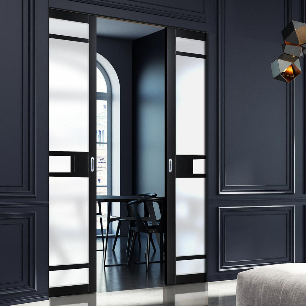 Bespoke Industrial Double Frameless Pocket Door WK6312 - Frosted Glass - 4 Prefinished Colour Choices