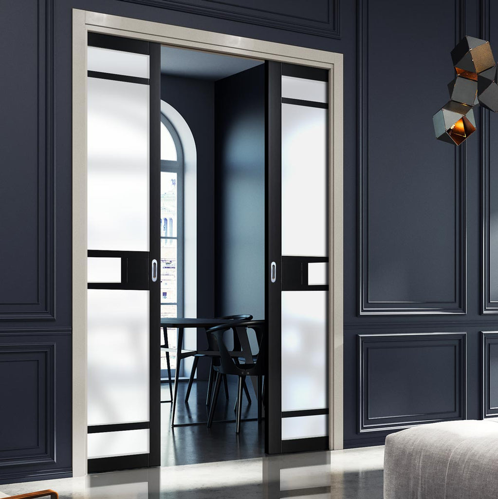 Bespoke Industrial Double Pocket Door WK6312 - Frosted Glass - 4 Prefinished Colour Choices