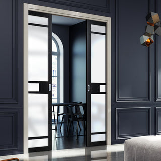 Image: Bespoke Double Pocket Door WK6312 - Frosted Glass - 2 Prefinished Colour Choices