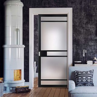 Image: Bespoke Single Pocket Door WK6312 - Frosted Glass - 2 Prefinished Colour Choices