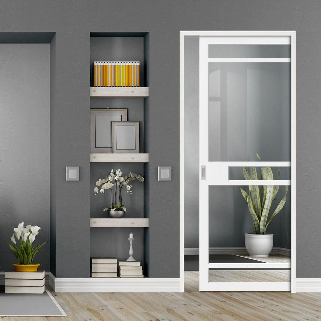 Bespoke Single Pocket Door WK6312 - Clear Glass - 2 Prefinished Colour Choices