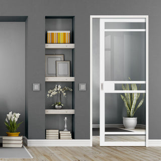 Image: Bespoke Single Pocket Door WK6312 - Clear Glass - 2 Prefinished Colour Choices