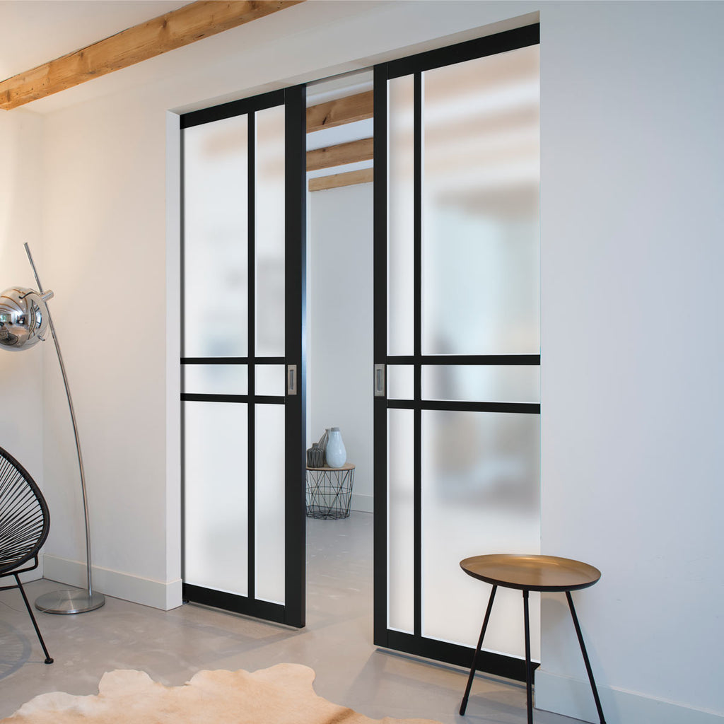 Bespoke Industrial Double Frameless Pocket Door WK6314 - Clear Glass - 4 Prefinished Colour Choices