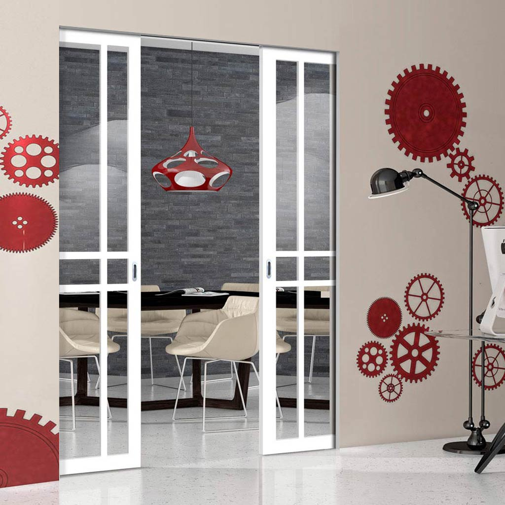 Bespoke Double Frameless Pocket Door WK6314 - Clear Glass - 2 Prefinished Colour Choices