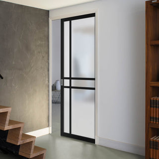 Image: Bespoke Single Pocket Door WK6314 - Frosted Glass - 2 Prefinished Colour Choices