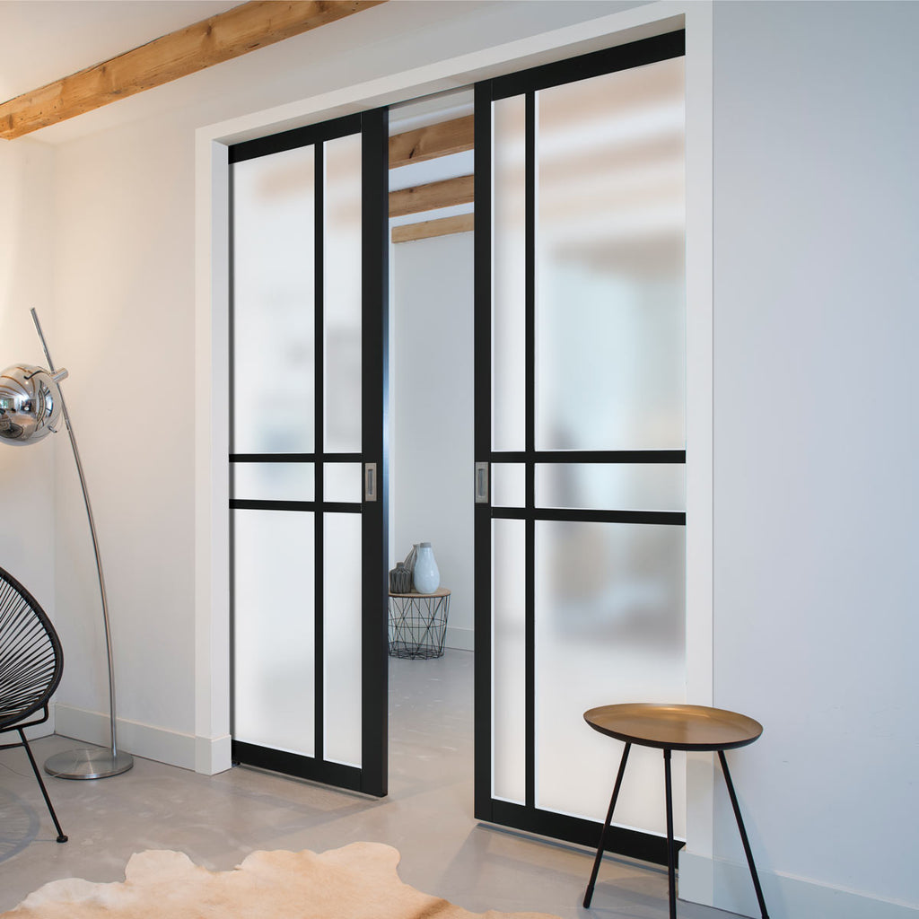 Bespoke Industrial Double Pocket Door WK6314 - Frosted Glass - 4 Prefinished Colour Choices