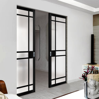 Image: Bespoke Industrial Double Frameless Pocket Door WK6316 - Frosted Glass - 4 Prefinished Colour Choices