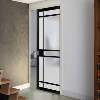 Image: Bespoke Industrial Single Pocket Door WK6316 - Frosted Glass - 4 Prefinished Colour Choices