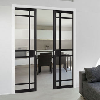 Image: Bespoke Double Pocket Door WK6316 - Clear Glass - 2 Prefinished Colour Choices