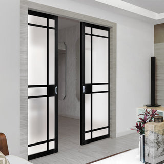 Image: Bespoke Double Pocket Door WK6316 - Frosted Glass - 2 Prefinished Colour Choices