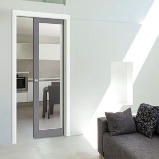 Image: Bespoke Industrial Single Pocket Door WK6351G - Clear Glass - 4 Prefinished Colour Choices