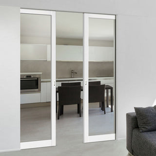 Image: Bespoke Double Frameless Pocket Door WK6351G - Clear Glass - 2 Prefinished Colour Choices