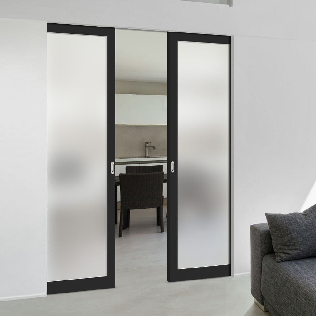 Bespoke Industrial Double Frameless Pocket Door WK6351SG - Frosted Glass - 4 Prefinished Colour Choices