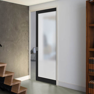 Image: Bespoke Industrial Single Pocket Door WK6351SG - Frosted Glass - 4 Prefinished Colour Choices