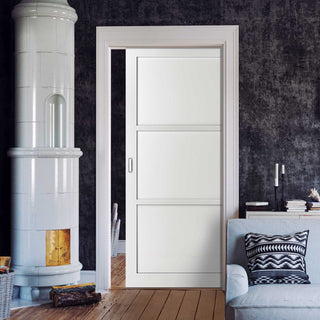 Image: Bespoke Industrial Single Pocket Door WK6355 - 4 Prefinished Colour Choices