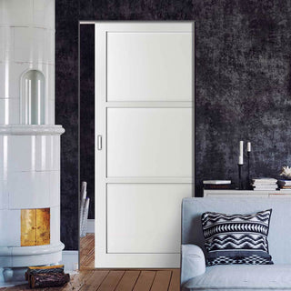 Image: Bespoke Industrial Single Frameless Pocket Door WK6355 - 4 Prefinished Colour Choices