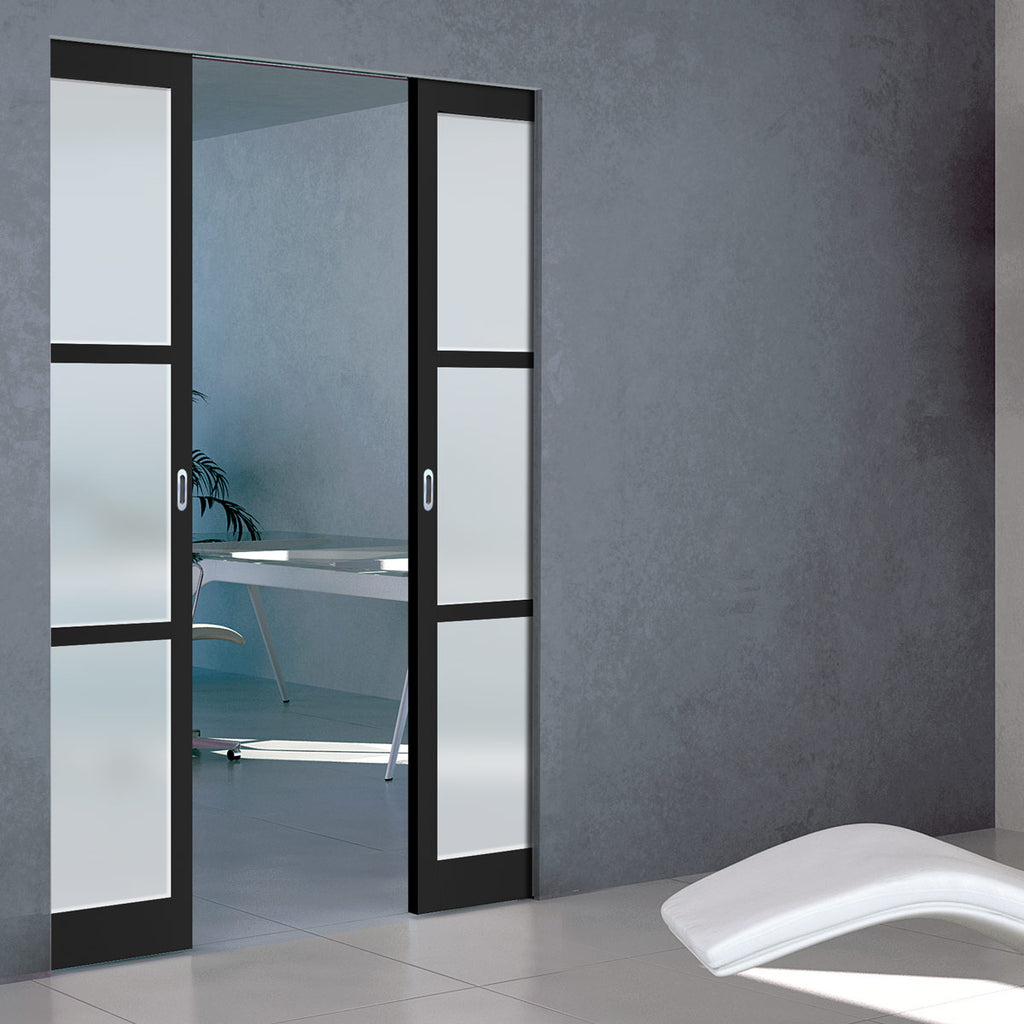 Bespoke Industrial Double Frameless Pocket Door WK6356 - Frosted Glass - 4 Prefinished Colour Choices