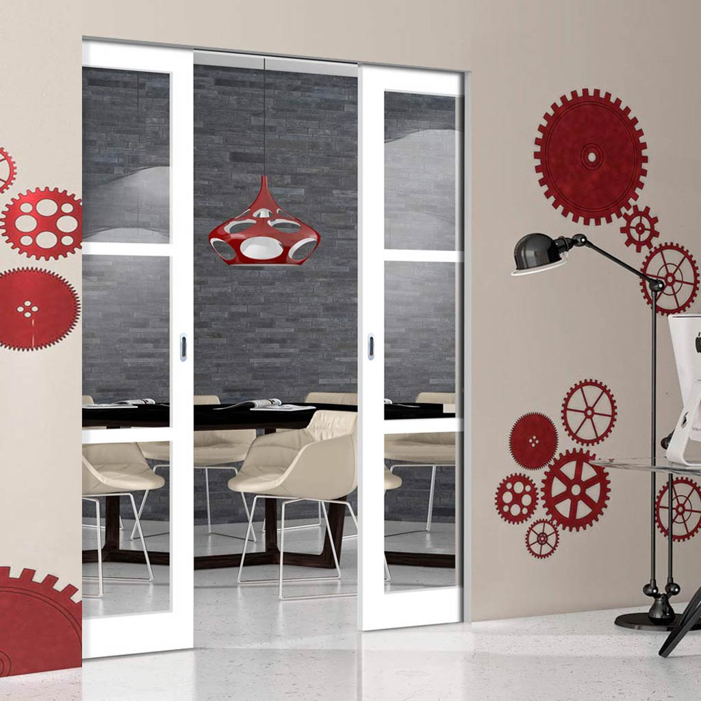 Bespoke Industrial Double Frameless Pocket Door WK6356 - Clear Glass - 4 Prefinished Colour Choices