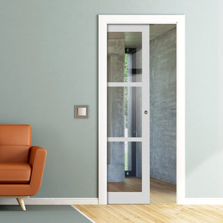 Image: Bespoke Industrial Single Pocket Door WK6356 - Clear Glass - 4 Prefinished Colour Choices