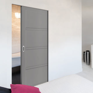 Image: Bespoke Industrial Single Frameless Pocket Door WK6357 - 4 Prefinished Colour Choices