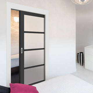 Image: Bespoke Single Pocket Door WK6358 - Frosted Glass - 2 Prefinished Colour Choices