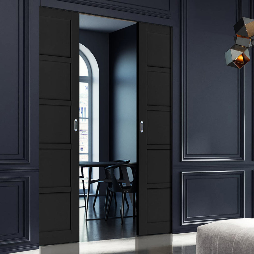 Bespoke Industrial Double Frameless Pocket Door WK6359 - 4 Prefinished Colour Choices