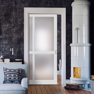 Image: Bespoke Single Pocket Door WK6361 - Frosted Glass - 2 Prefinished Colour Choices