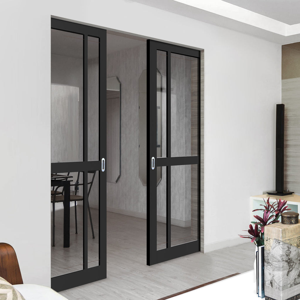 Bespoke Industrial Double Frameless Pocket Door WK6362 - Clear Glass - 4 Prefinished Colour Choices