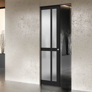 Image: Bespoke Single Pocket Door WK6362 - Frosted Glass - 2 Prefinished Colour Choices