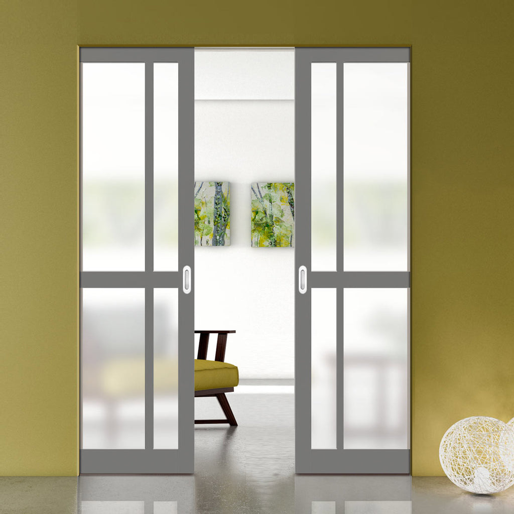 Bespoke Industrial Double Frameless Pocket Door WK6362 - Frosted Glass - 4 Prefinished Colour Choices