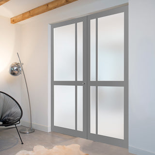 Image: Bespoke Industrial Style 4 Pane Door Pair WK6362 - Frosted Glass - 95mm - 4 Prefinished Colour Choices