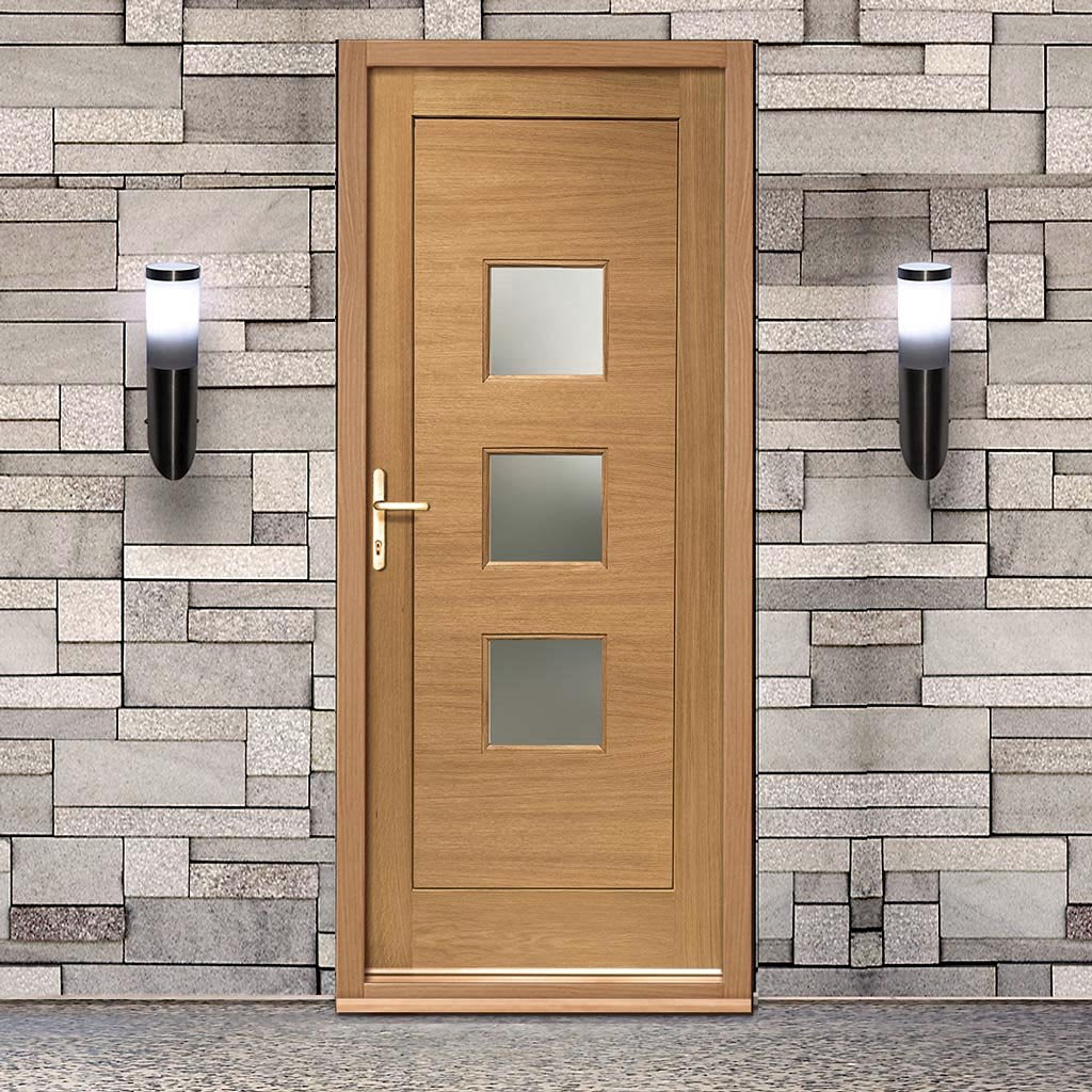 Prefinished Turin Oak Door and Frame Set - Frosted Double Glazing