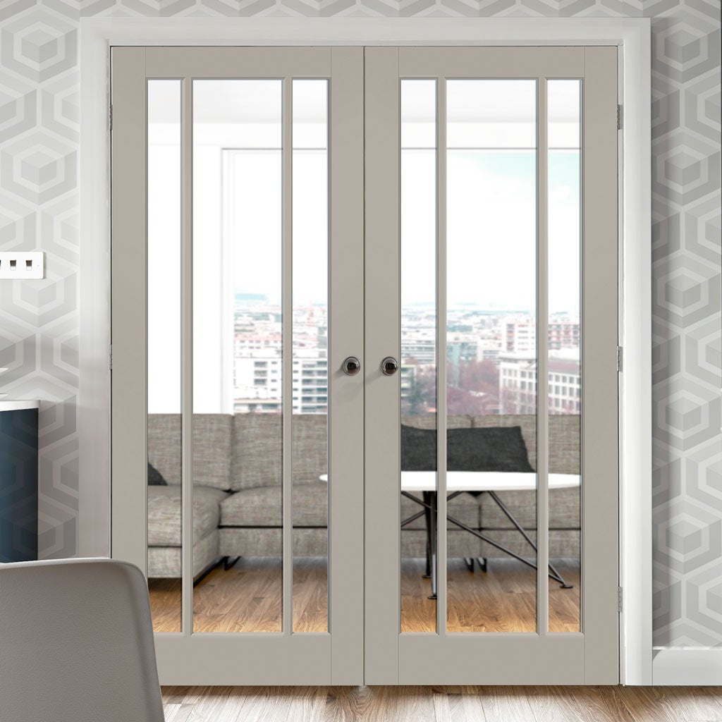 Prefinished Worcester 3 Pane Door Pair - Clear Glass - Choose Your Colour