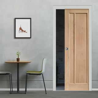 Image: Worcester Oak 3 Panel Single Evokit Pocket Door