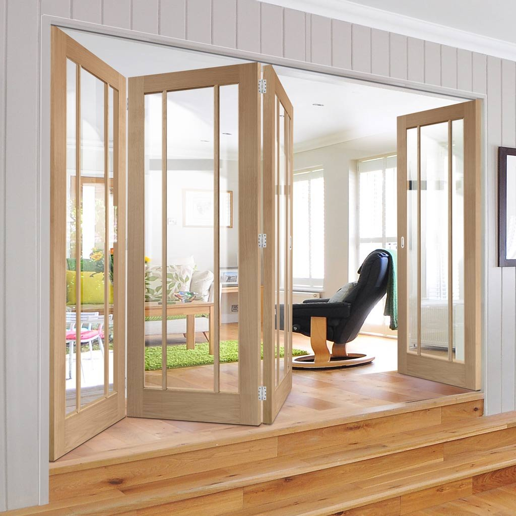 Four Folding Doors & Frame Kit - Worcester Oak 3 Pane 3+1 - Clear Glass - Prefinished