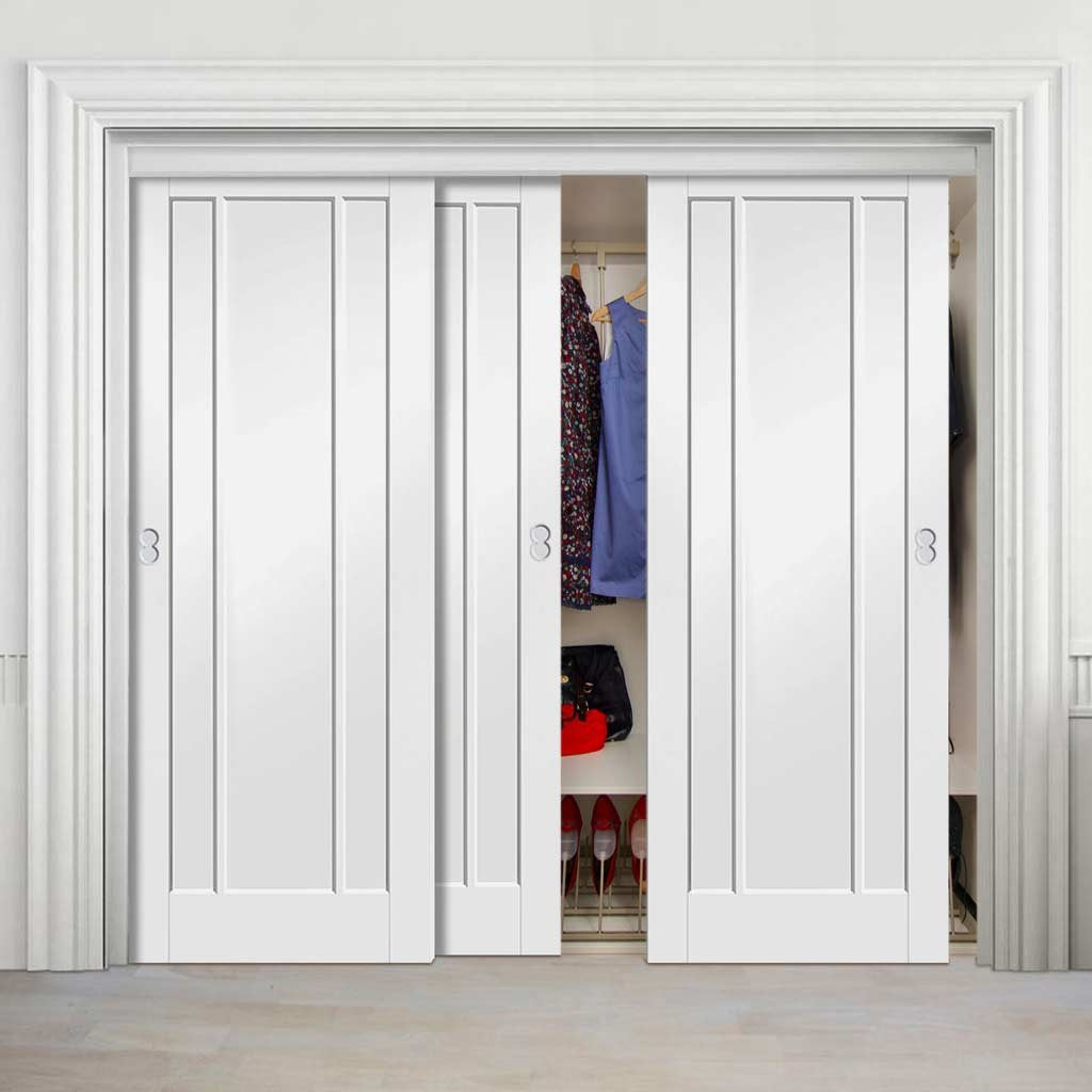 Bespoke Thruslide Worcester 3 Panel 3 Door Wardrobe and Frame Kit - White Primed