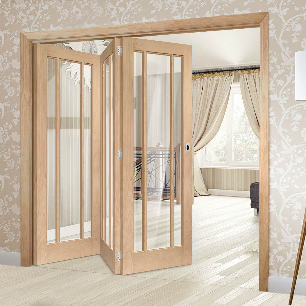 Three Folding Doors & Frame Kit - Worcester Oak 3 Pane 3+0 - Clear Glass - Prefinished