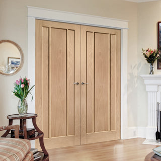 Image: Fire Rated Worcester 3 Panel Oak Door Pair - 1/2 Hour Fire Rated