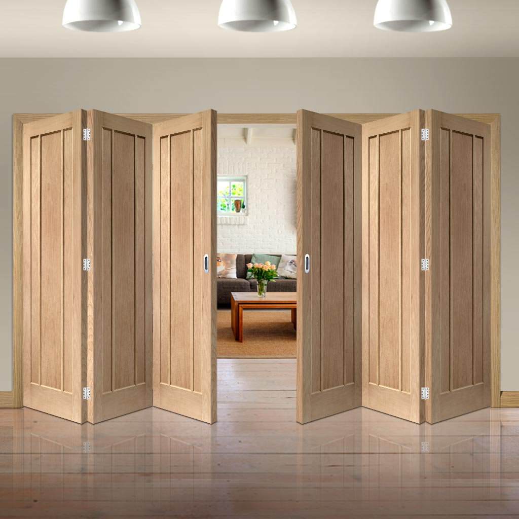 Bespoke Thrufold Worcester Oak 3P Folding 3+3 Door - Prefinished