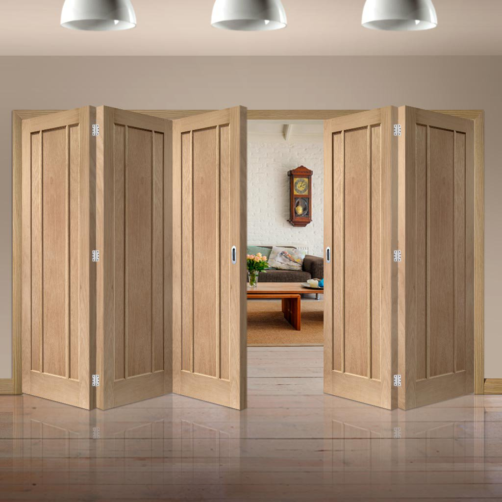 Bespoke Thrufold Worcester Oak 3 Panel Folding 3+2 Door - Prefinished