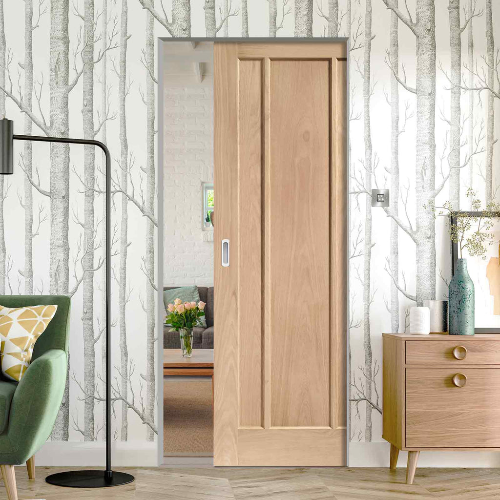 Worcester Oak 3 Panel Absolute Evokit Pocket Door