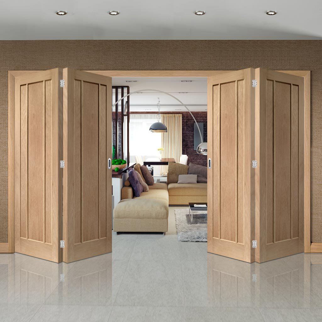 Bespoke Thrufold Worcester Oak 3 Panel Folding 2+2 Door - Prefinished