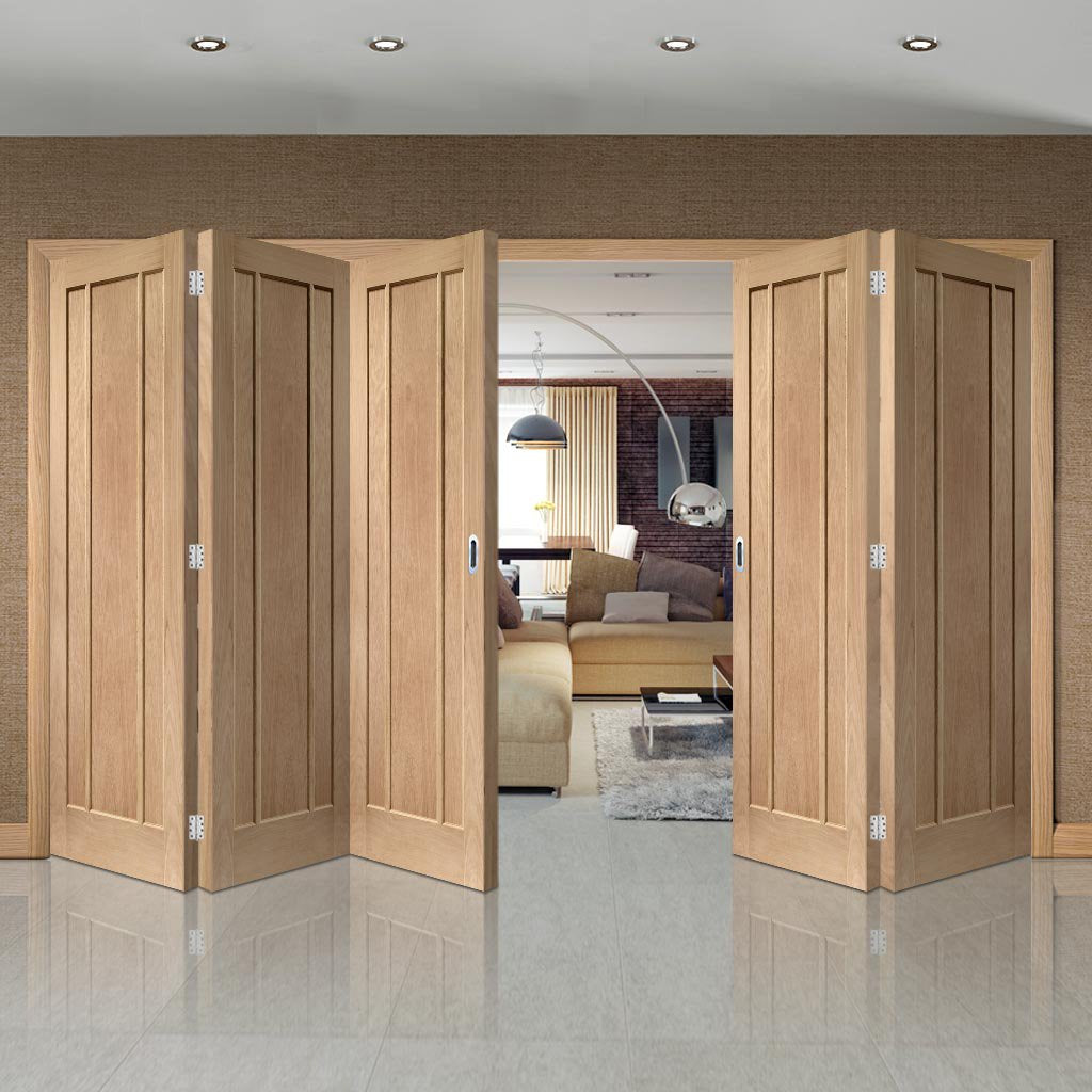 Bespoke Thrufold Worcester Oak 3 Panel Folding 3+2 Door