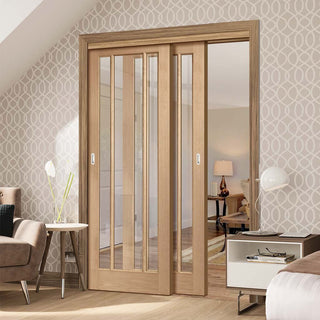 Image: Thruslide Worcester Oak 3 Pane - 2 Sliding Doors and Frame Kit - Clear Glass