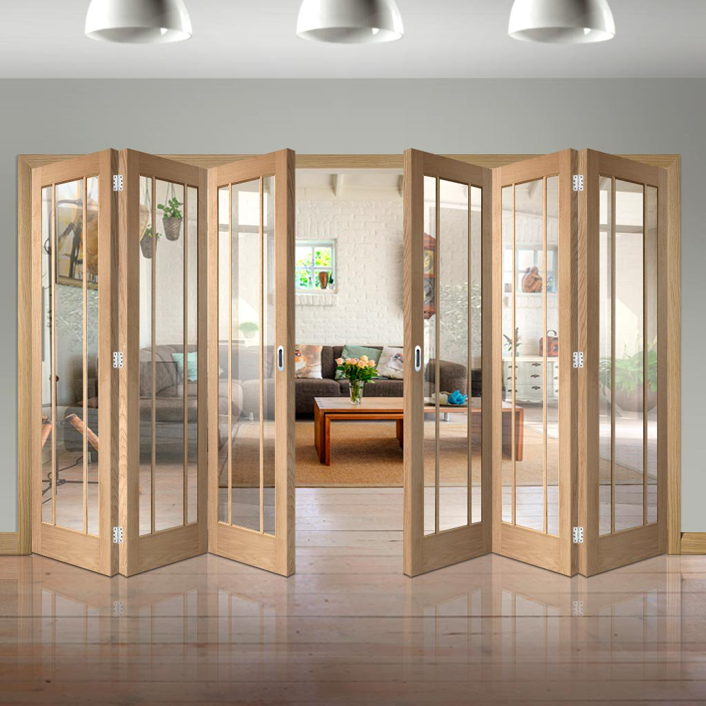 Six Folding Doors & Frame Kit - Worcester Oak 3 Pane 3+3 - Clear Glass - Unfinished