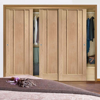 Image: Bespoke Thruslide Worcester Oak 3 Panel 3 Door Wardrobe and Frame Kit