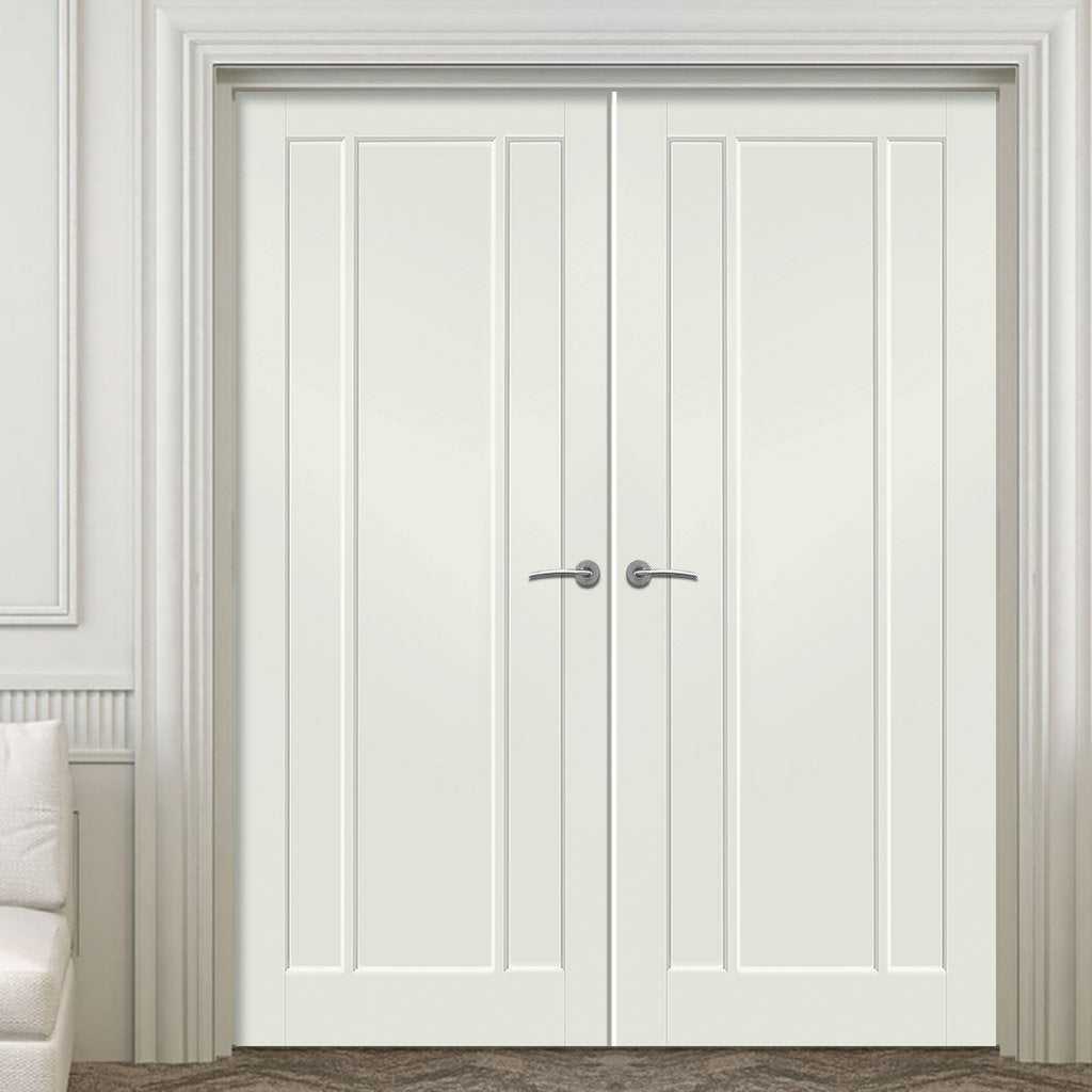 Prefinished Worcester 3 Panel Door Pair - Choose Your Colour