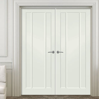 Image: Prefinished Worcester 3 Panel Door Pair - Choose Your Colour