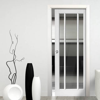 Image: Worcester 3 Pane Single Evokit Pocket Door - Clear Glass - Primed