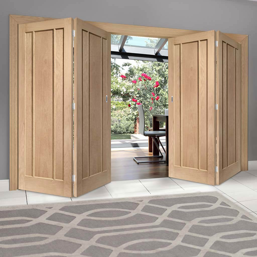 Four Folding Doors & Frame Kit - Worcester Oak 3 Panel 2+2 - Prefinished